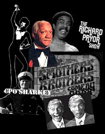 Photomontage of Sammy Davis Jr., Redd Fox, Richard Pryor, Don Rickles, Dick Van Dyke, Smothers Brothers Logo