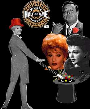 photomontage of Debbie Reynolds, Jackie Gleason, Lucille Ball, Judy Garland